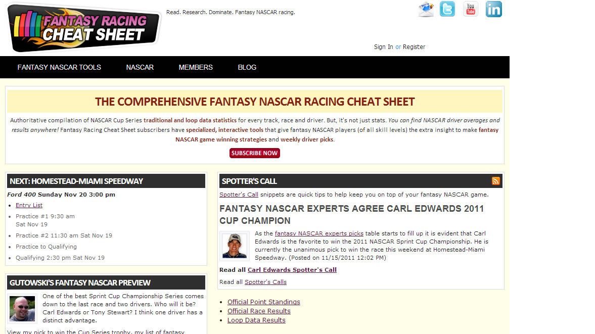2011 Fantasy Racing Cheat Sheet