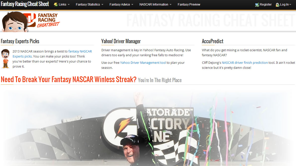 2013 Fantasy Racing Cheat Sheet